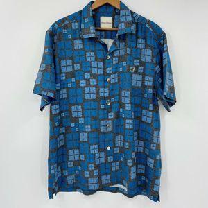 Tommy Bahama Short Sleeve Silk Camp Shirt Blue Geo